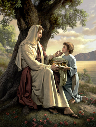 Jesus sitting by a tree; a boy offers a basket with two fishes and five loaves.