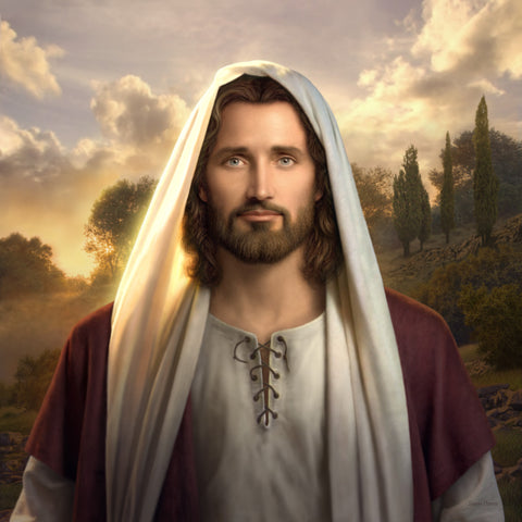 Painting of Jesus looking directly at the view wearing a red rob at sunset.