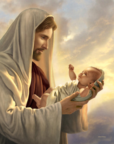 Christ looking at a newborn baby he is holding in his arms.
