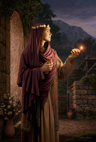 A young woman looks confidently into the night holding her lamp and oil.
