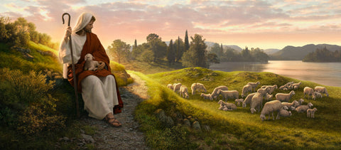 Christ sits beside a path looking out over his flock of sheep in the pasture.