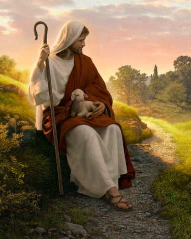 Jesus sitting by a path has a baby lamb in his lap and is holding a staff.