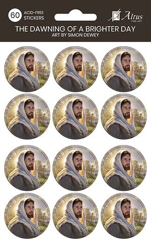 The Dawning of a Brighter Day circle sticker pack of 60