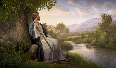 Jesus resting against a tree looking out over a small stream and valley.