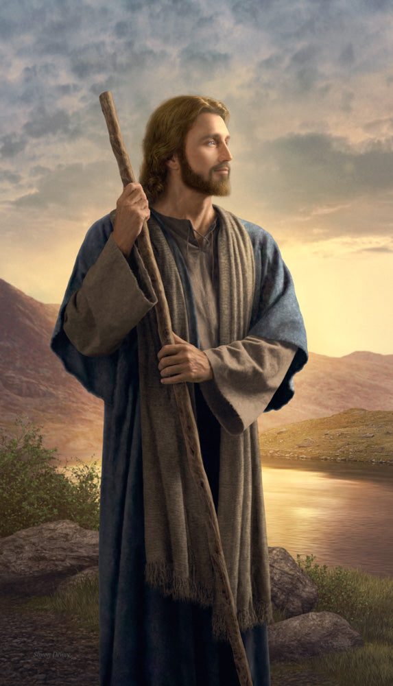 Christ standing beside a river holding his staff and looking forward.