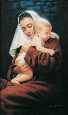Mary holds baby Jesus and ponders her experience.