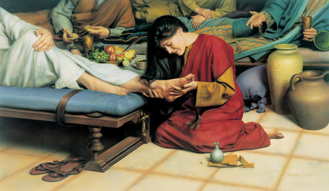 Woman sits at Jesus' feet and washes and anoints his feet with her tears.