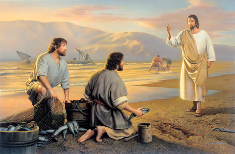 Christ beckons for two fishermen gathering fish to follow him.