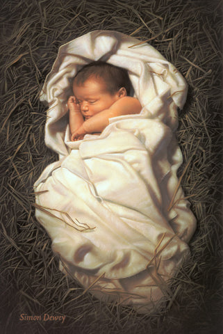 Baby Jesus wrapped in swaddling clothes lying in a manger.