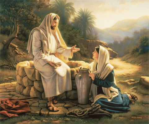 The Samaritan woman kneels beside the well as Jesus teaches her.
