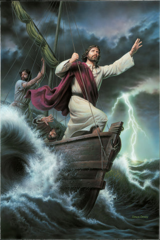 Christ stands at the front of a boat and calms the sea and storm.