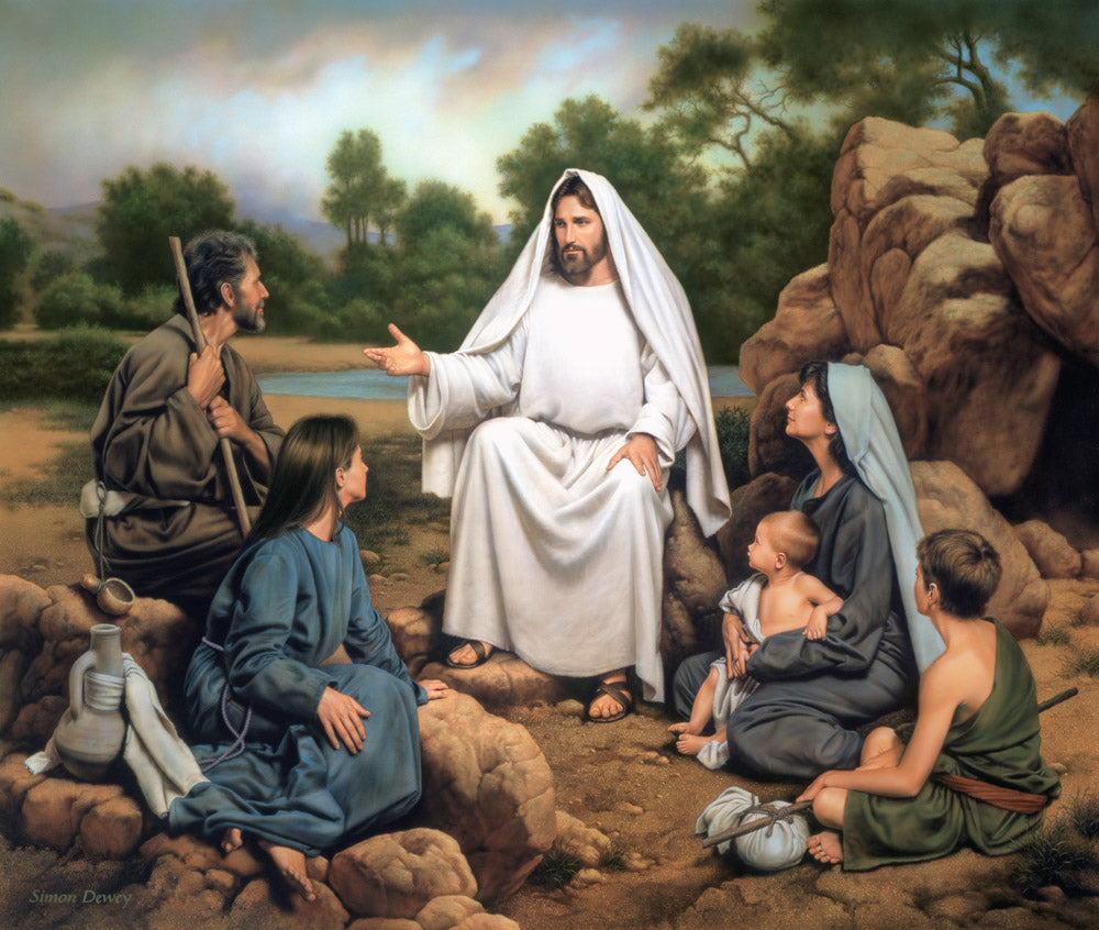 Christ is sitting with a family who is gathered to hear his teachings.