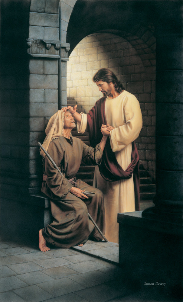 Jesus stands in an archway and heals a blind man.