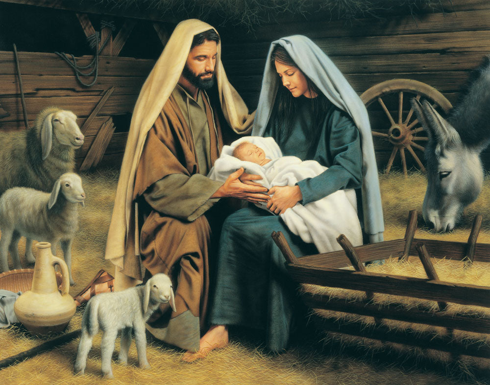 Mary and Joseph hold baby Jesus in the manger as the animals look on.