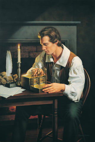 Joseph Smith is seated at a table examining the gold plates.