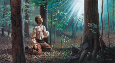 Joseph Smith kneeling in the sacred grove with a pillar of light decending.