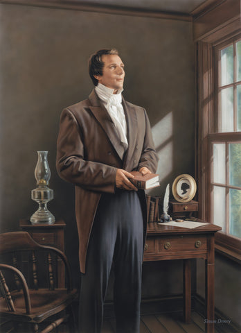 Joseph Smith holding a copy of the Book of Mormon in his office.