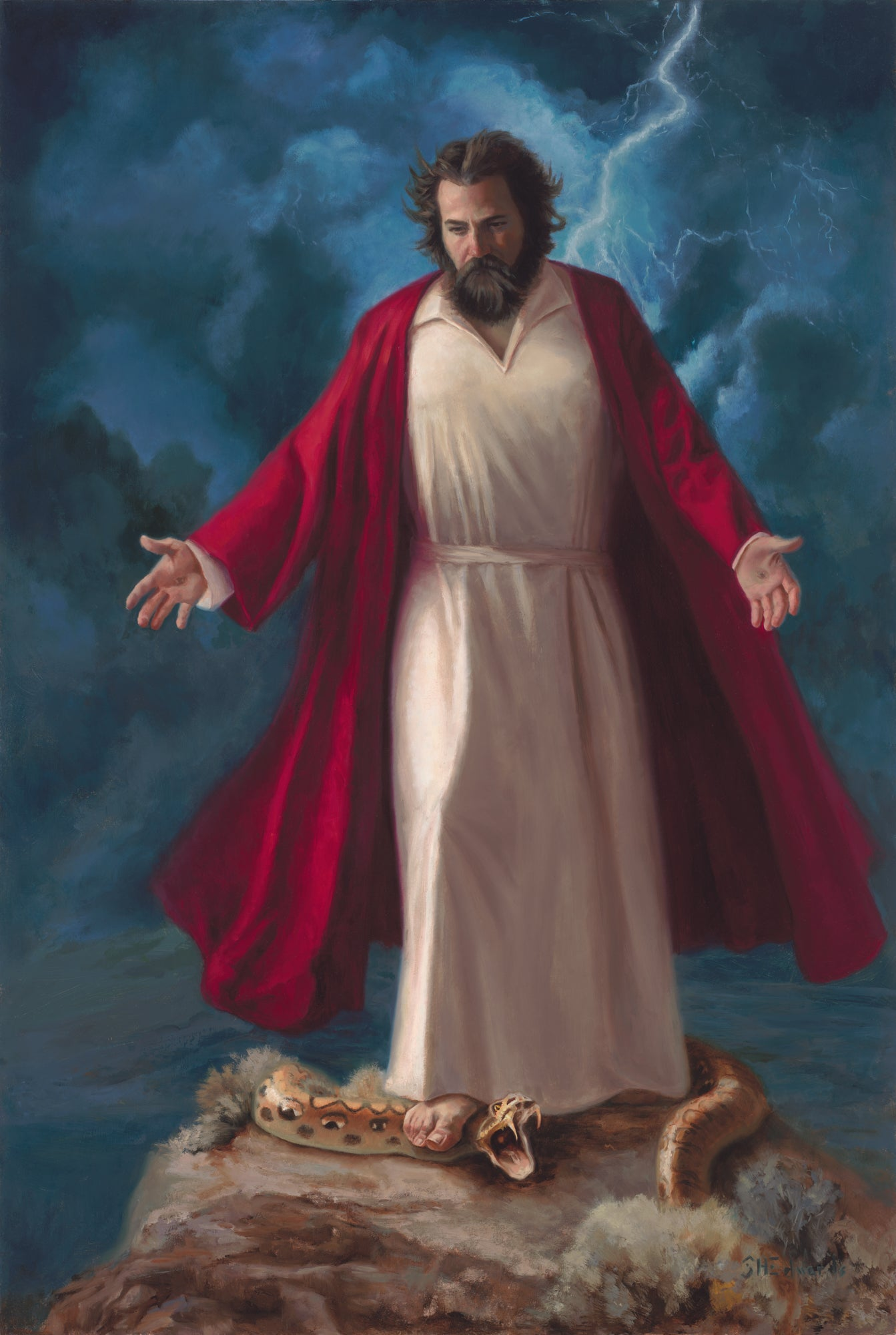 Jesus standing on snake on rock with lightning.