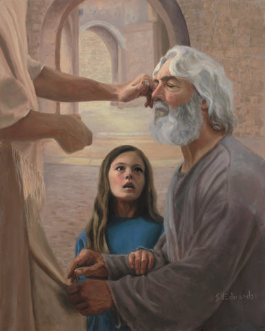 Jesus healing a blind man while a young girl watches.