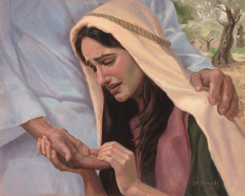 Resurrected Christ showing mary the scars in his palm.