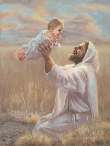Jesus kneeling in a wheat field holding up a baby.