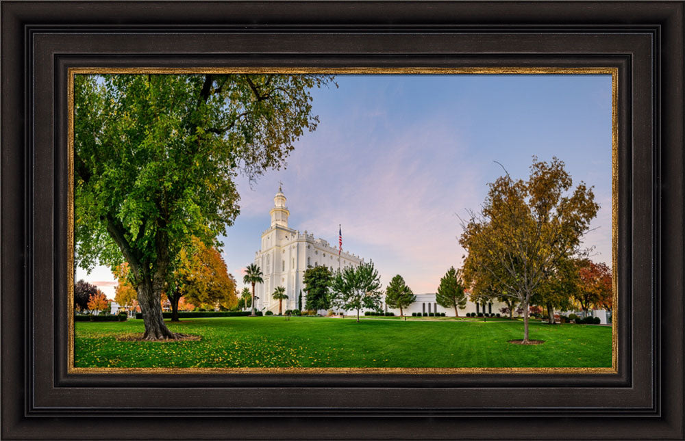 St George Temple - Green and Blue in Fall by Scott Jarvie