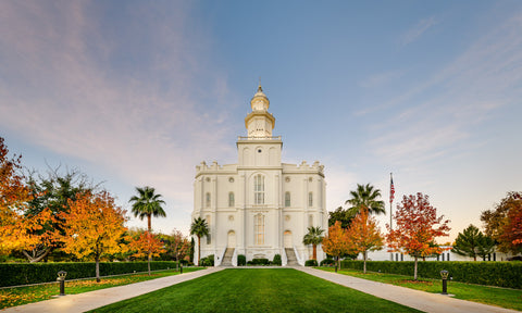 St George Temple - Autumn Path by Scott Jarvie