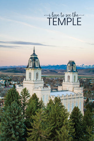 Manti Temple - Above the Trees 12x18  repositionable poster