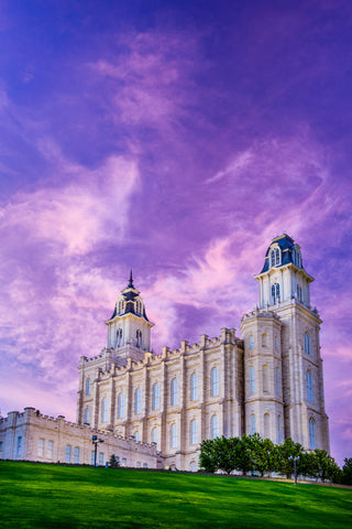 Manti Temple - Pink Sunrise by Scott Jarvie