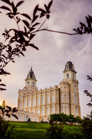 Manti Temple - Framed by Leaves by Scott Jarvie