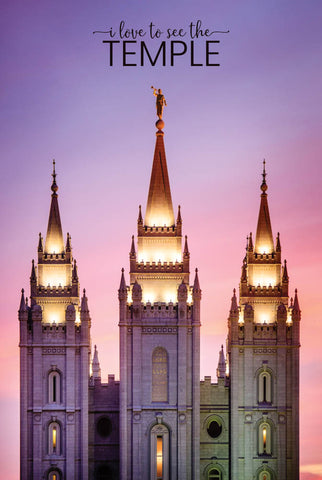 Salt Lake Temple - Pink Spires 12x18  repositionable poster