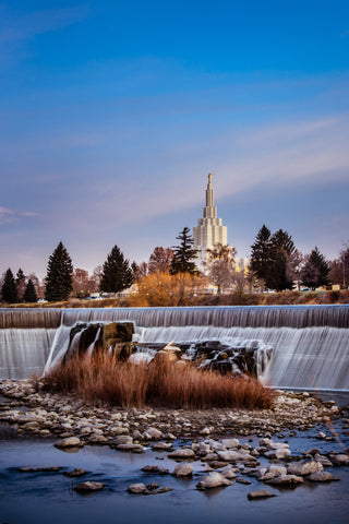 Idaho Falls Temple - From the Falls by Scott Jarvie