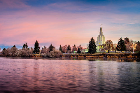 Idaho Falls Temple - River at Sunrise by Scott Jarvie