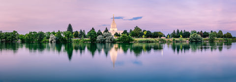 Idaho Falls Temple - Blue Sunset Reflection by Scott Jarvie