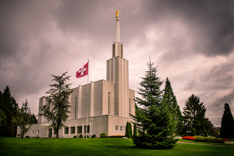 Bern Switzerland Temple - Stormy Flag by Scott Jarvie