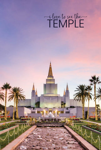 Oakland Temple - Font Sunset 12x18  repositionable poster