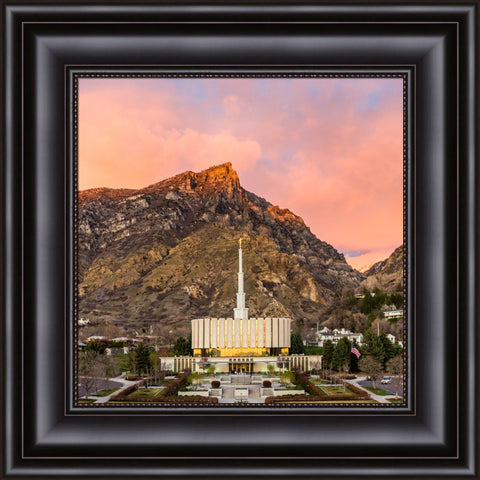 Provo Utah Temple - Sunset Over the Mountain 14x14 framed textured print black frame