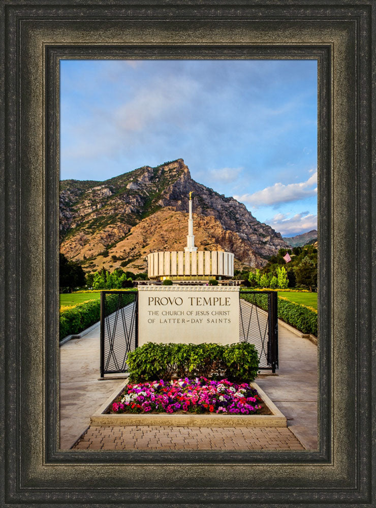 Provo Temple - Sign with Flowers by Scott Jarvie