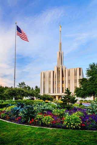 Seattle Temple - Flag by Scott Jarvie