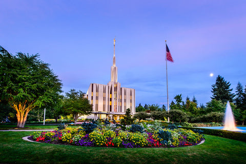 Seattle Temple - Evening Fountain by Scott Jarvie