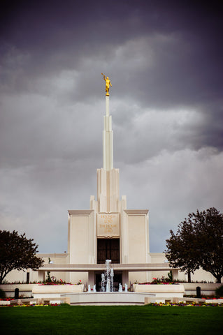Denver Temple - Stormy Fountain by Scott Jarvie