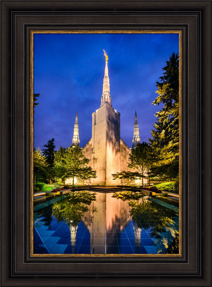 Portland Temple - Reflections in Blue by Scott Jarvie