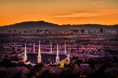 Las Vegas Temple - Orange Sunset by Scott Jarvie