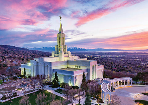 Bountiful Temple - Sunset Across the Valley 5x7 print