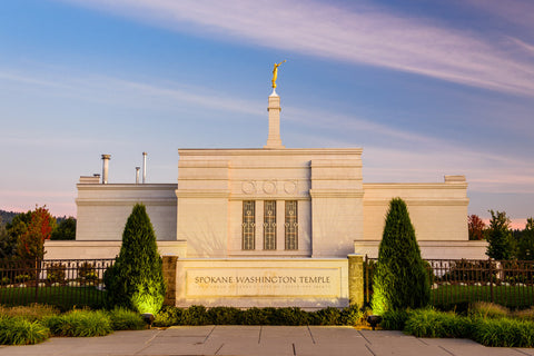 Spokane Temple - Sign with Lights by Scott Jarvie