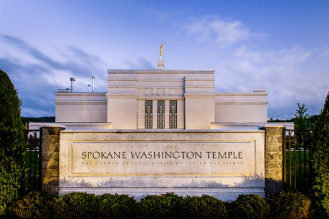 Spokane Temple - Sign by Scott Jarvie