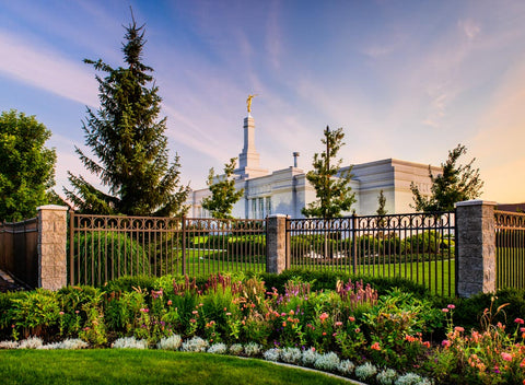 Spokane Temple - Flowers and Fence by Scott Jarvie