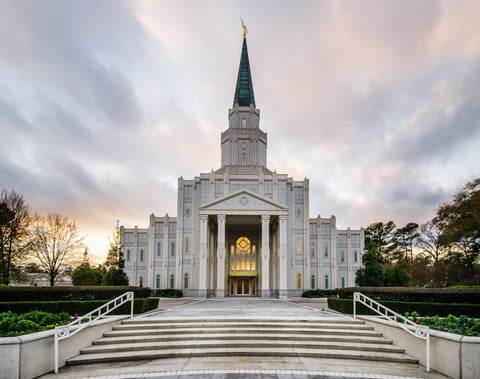 Houston Temple - Steps at Twilight by Scott Jarvie