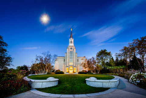Boston Temple - Moonlight View by Scott Jarvie