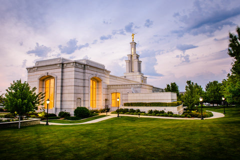 Columbia River Temple - Sunset Behind the Temple by Scott Jarvie